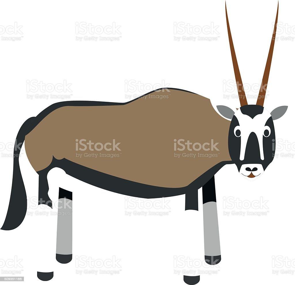 Cute cartoon oryx gazelle vector illustration vector art illustration