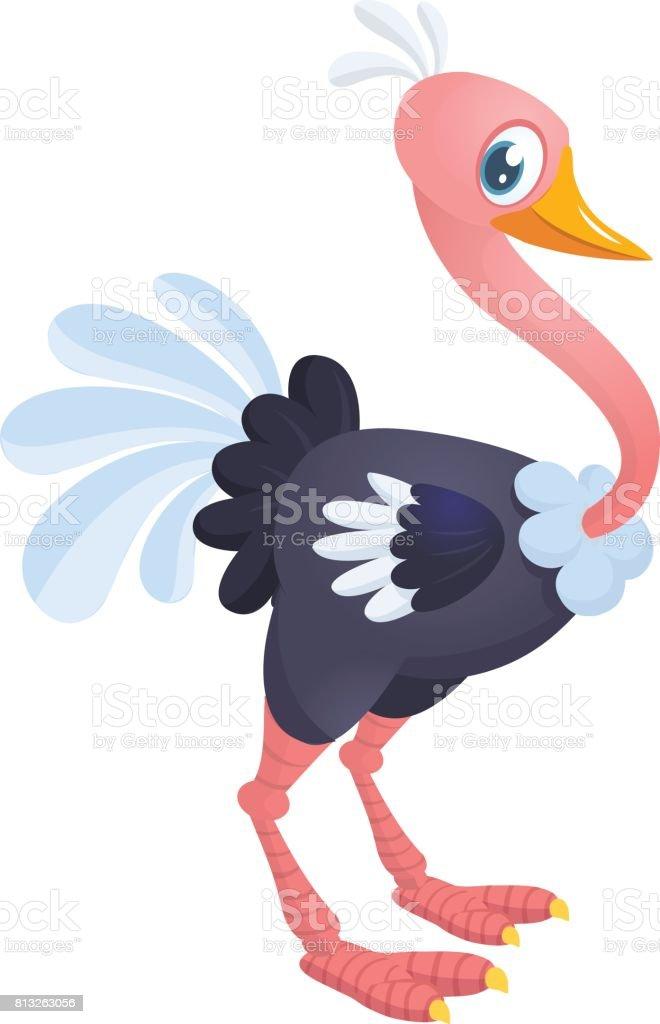 Avestruz bonito dos desenhos animados. Ilustração vetorial de personagem para livro de crianças. - ilustração de arte em vetor