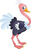 Cute cartoon ostrich. Vector character illustration for chlidren book.