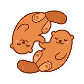 Cute cartoon otter couple holding hands. Kawaii little otters in love, vector clip art illustration.