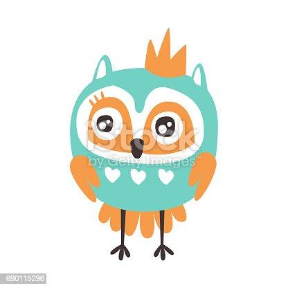 oiseau chouette dessin anim mignon avec vecteur de personnage haut en couleur de couronne. Black Bedroom Furniture Sets. Home Design Ideas