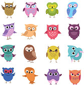 Cute cartoon owl characters vector set
