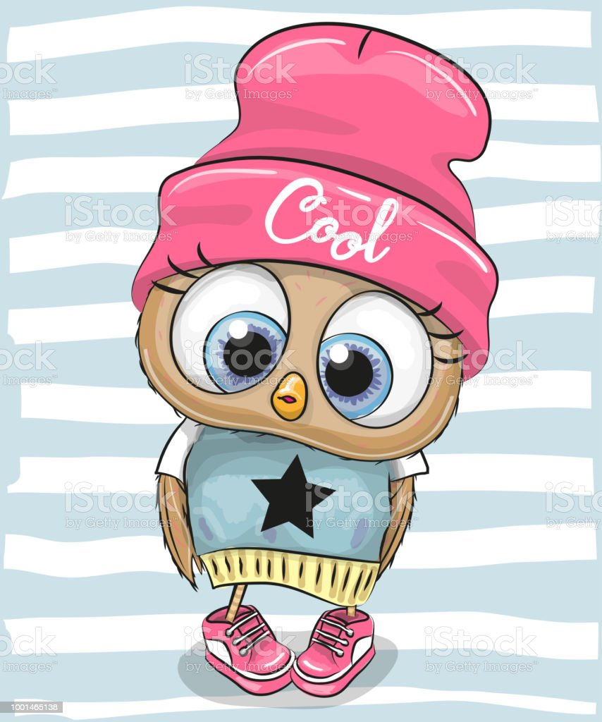 Cute Cartoon Owl in a hat and scarf vector art illustration