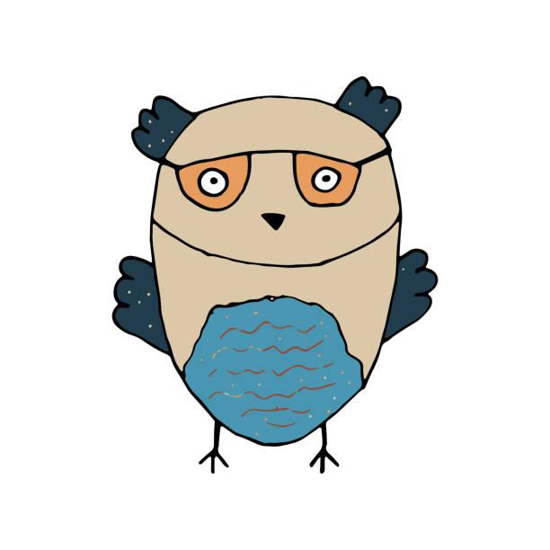 Chouette dessin animé mignon dans le style de Doodle. - Illustration vectorielle