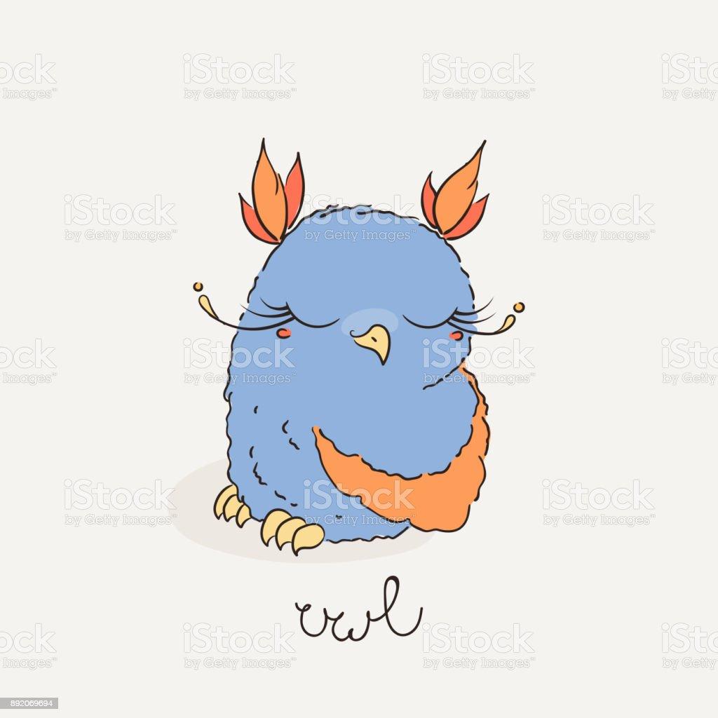 Sevimli Cizgi Baykus Doodle Tarzi Cok Guzel Owlet Stok Vektor