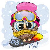 Cute cartoon Owl Girl on a snowboard on a blue background