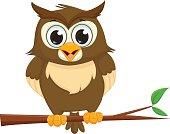 cute cartoon owl sitting on a tree branch