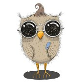 Cute cartoon owl in sunglasses with a phone