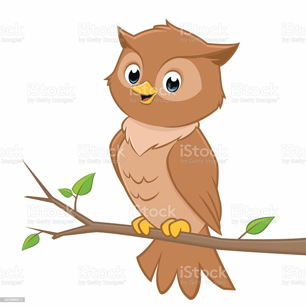 Cute Cartoon Owl Stock Illustration - Download Image Now ...