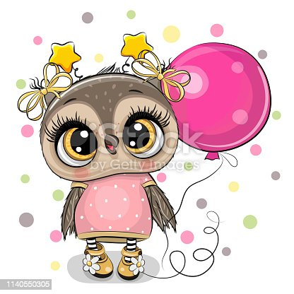 Greeting card Cute Cartoon Owl with pink balloon