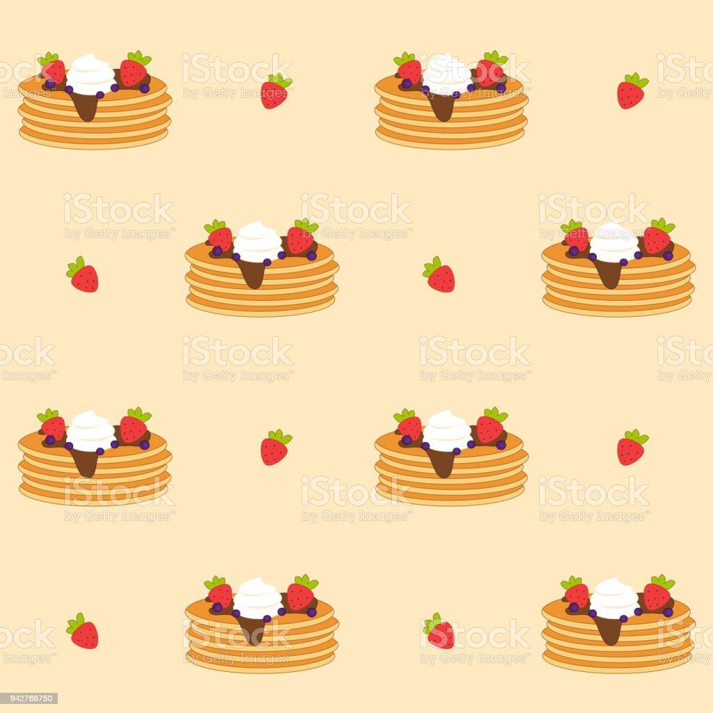 かわいい漫画のパンケーキ シームレスなベクトル パターン背景イラスト