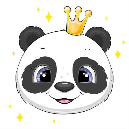 Cute cartoon panda head with crown.