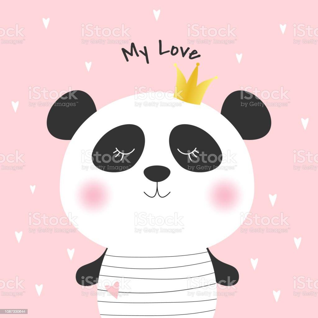 Princesse De Dessin Animé Mignon Panda Et Inscription Mon Amour Vecteurs Libres De Droits Et Plus Dimages Vectorielles De A La Mode