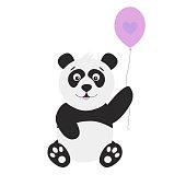 Cute cartoon  panda with balloon on white  background.