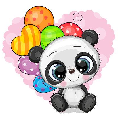 Cute Cartoon Panda with balloons
