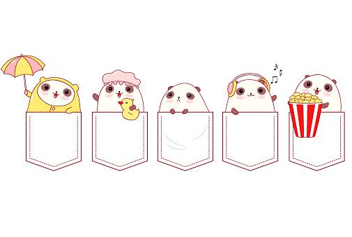 Cute cartoon pandas pocket set