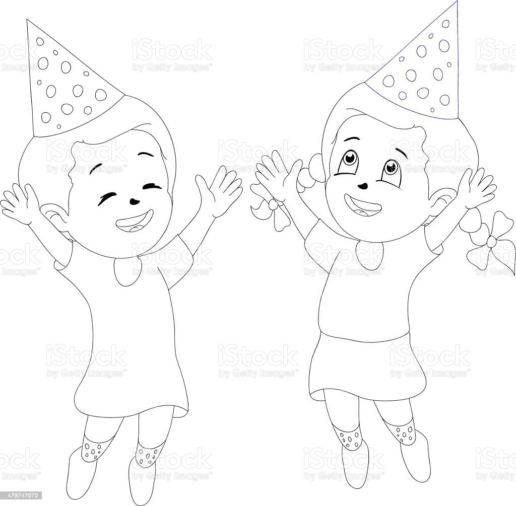 Cute Cartoon Party Girls Drawing Style Stock Illustration