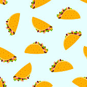 Cute cartoon seamless pattern with color flat Mexican tacos on light blue background. Tasty fast-food texture for textile, café and restaurant wrapping paper design, covers, banners, wallpaper