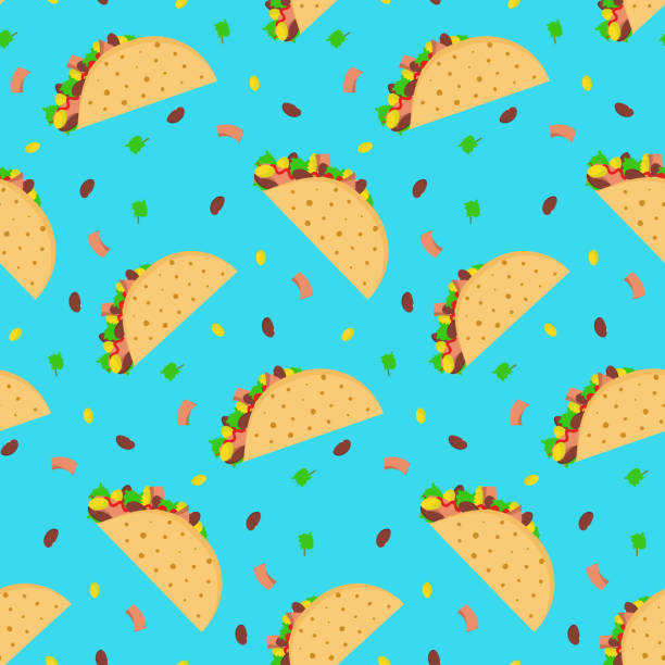 cute cartoon pattern with mexican tacos - taco stock illustrations, clip art, cartoons, & icons