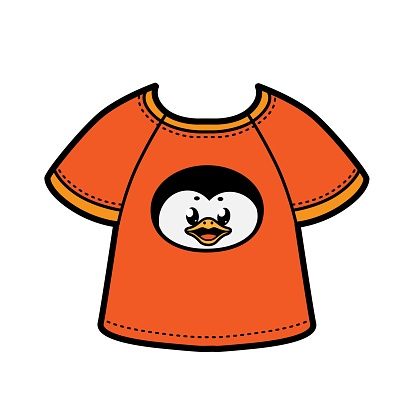 Cute cartoon penguin face print on T-shirt color variation for coloring page on a white background
