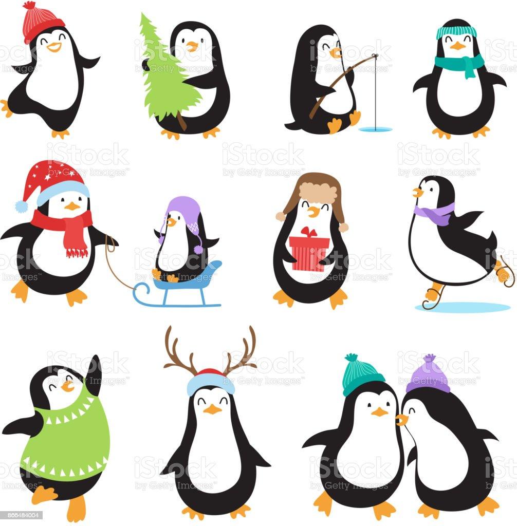 Cute cartoon penguins. Winter holidays vector animals set