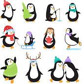 Cute cartoon penguins. Winter holidays vector animals set. Penguin character and xmas mascot bird illustration