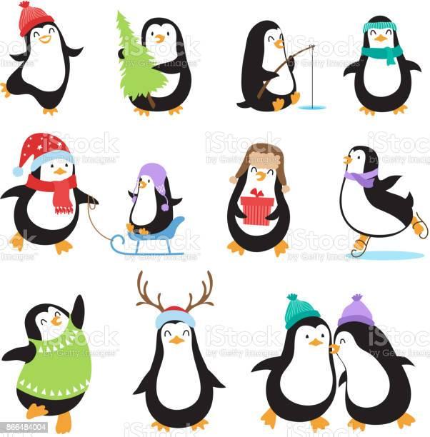 Cute cartoon penguins winter holidays vector animals set vector id866484004?b=1&k=6&m=866484004&s=612x612&h=u zihczpikobk9cb0 rvihqf1zg exxbrohpxfdtb4k=