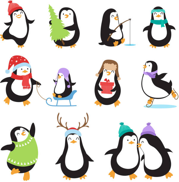 cute cartoon penguins. winter holidays vector animals set - penguin stock illustrations