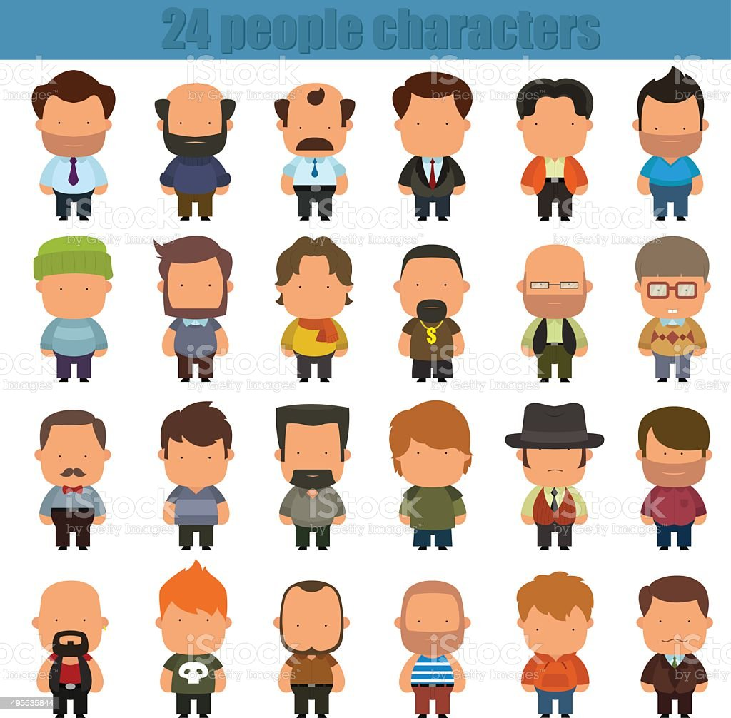 cute cartoon people characters vector art illustration