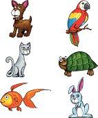 istock Cute Cartoon pets 158340656