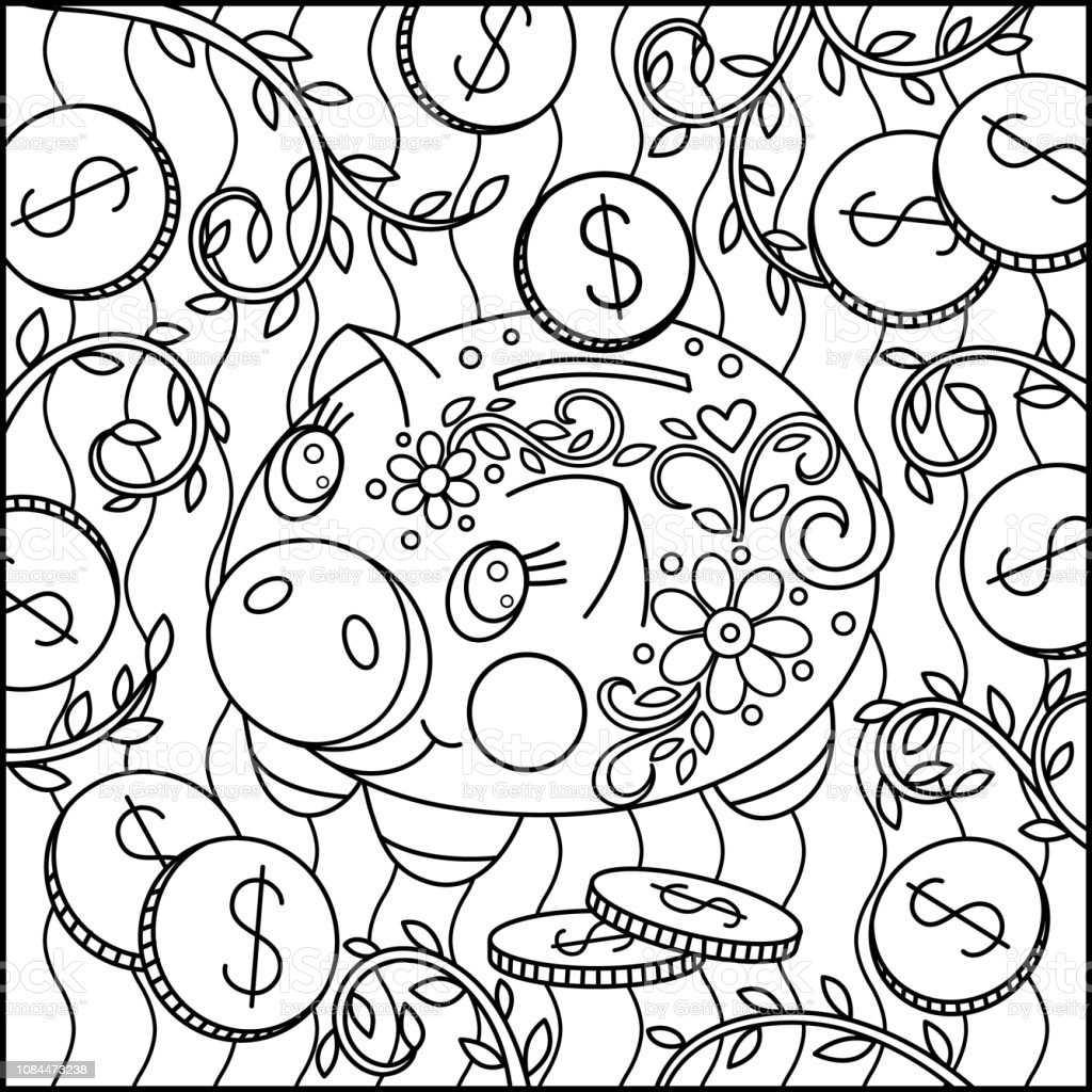 Cute Cartoon Pig Coloring Page Stock Illustration Download Image Now Istock