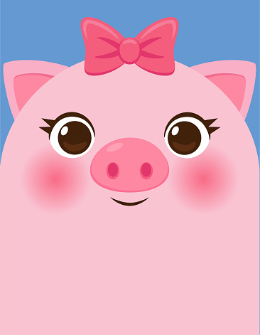 Cute Cartoon Pig Head On Blue Background Stock Illustration Download Image Now Istock