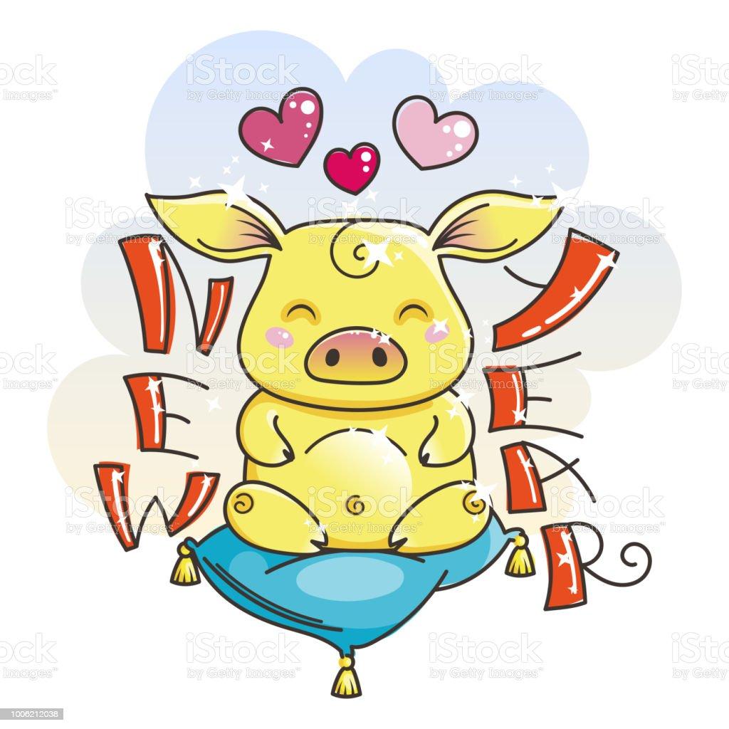En haut Cochon Dessin Animé Mignon En Amour Symbole De La Nouvelle Année @ZK_06