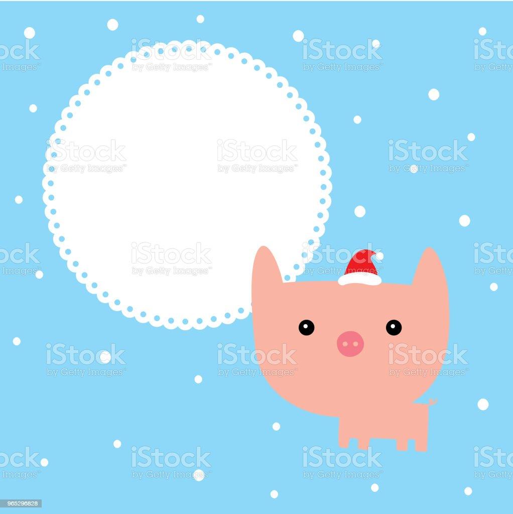 cute cartoon pig merry christmas greeting card vector cute cartoon pig merry christmas greeting card vector - stockowe grafiki wektorowe i więcej obrazów baby shower royalty-free