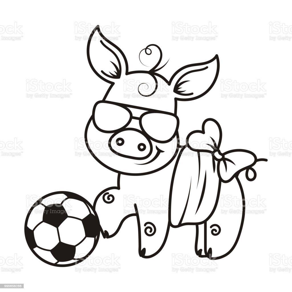 サッカー ボールとかわいい漫画のブタベクトルの図 Tシャツのベクター