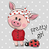 Cute Cartoon Piggy Girl in a red coat with ladybug