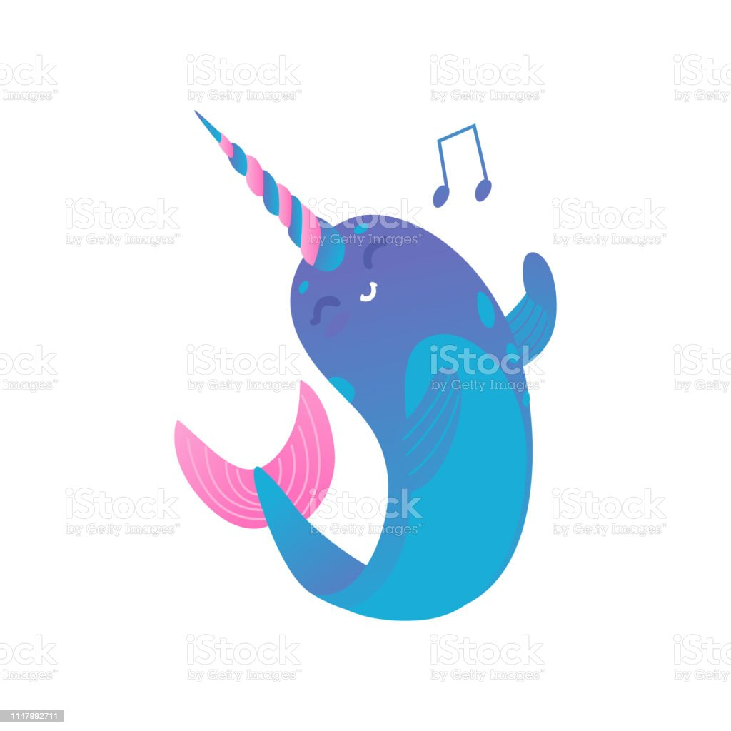 Cute cartoon pink and blue narwhal with gradient sings and dances,...