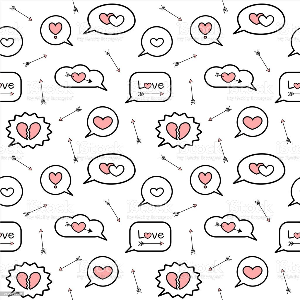Cute Cartoon Pink White Black Love Speech Bubbles Seamless Vector Pattern Background Illustration Stock Illustration Download Image Now Istock
