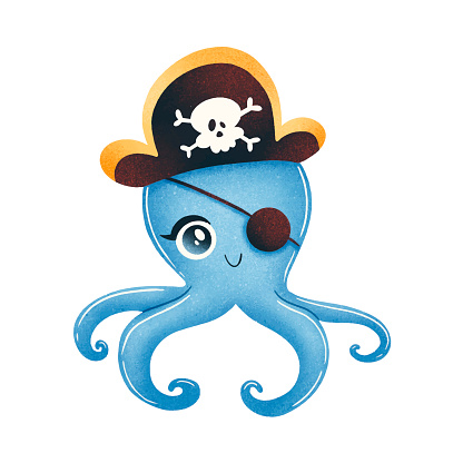 Cute cartoon pirate octopus isolated on white background. Animal pirates