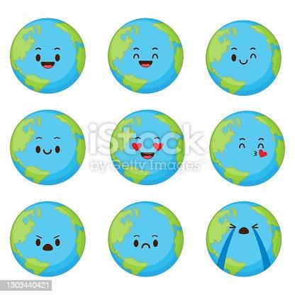 Cute cartoon planet earth set