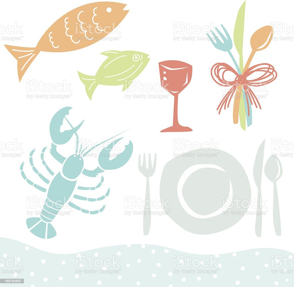 Niedlichen Cartoonteller Küchenutensilien Und Meeresfrüchte Stock ...