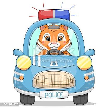 istock Cute cartoon police car with a tiger. 1301164478