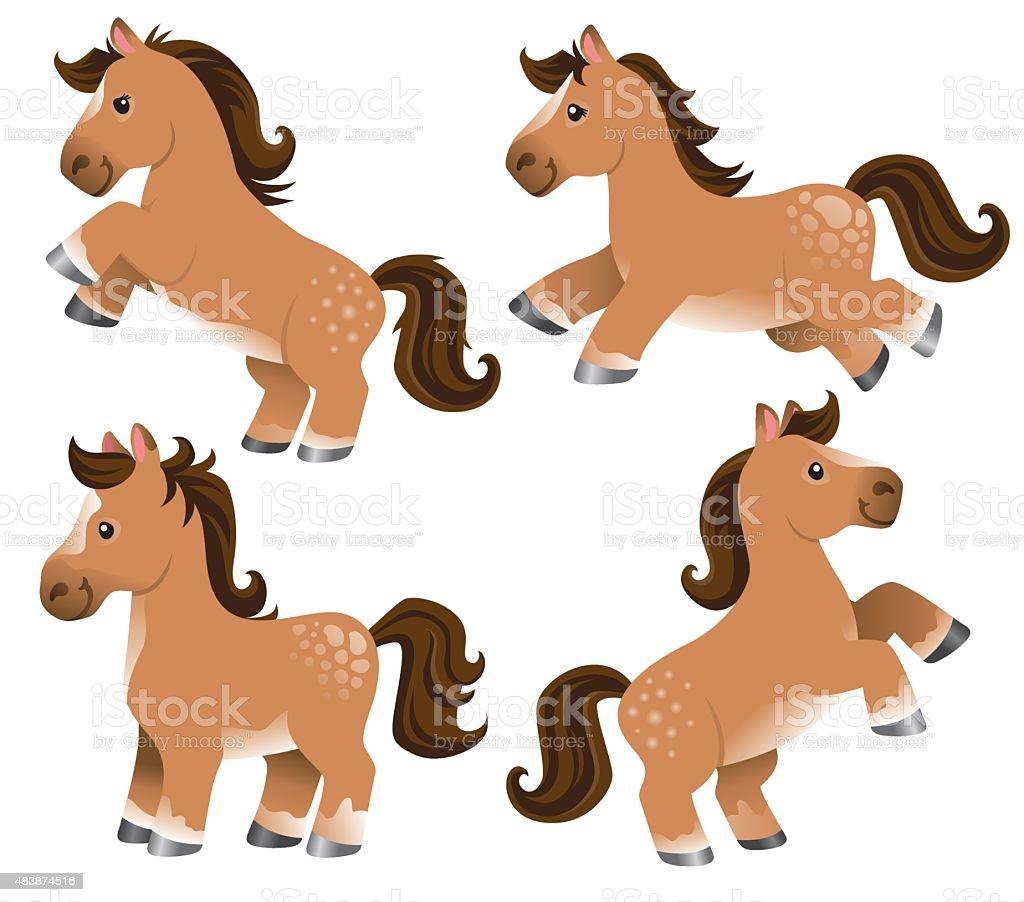 Cute cartoon ponies vector art illustration
