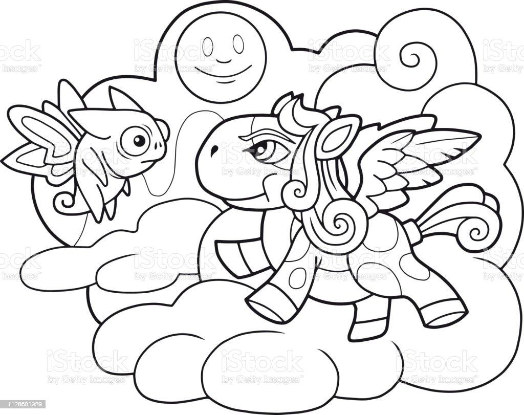 Ilustración De Cute Dibujos Animados De Caballo Pegasus Para