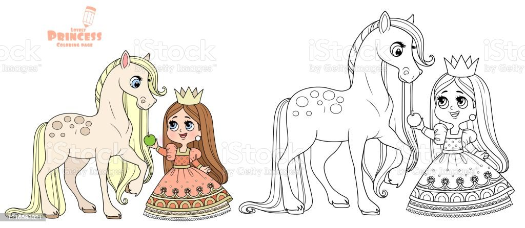 Putri Kartun Lucu Memberi Makan Kuda Apel Yang Diuraikan Dan Warna Untuk Mewarnai Buku Ilustrasi Stok Unduh Gambar Sekarang Istock