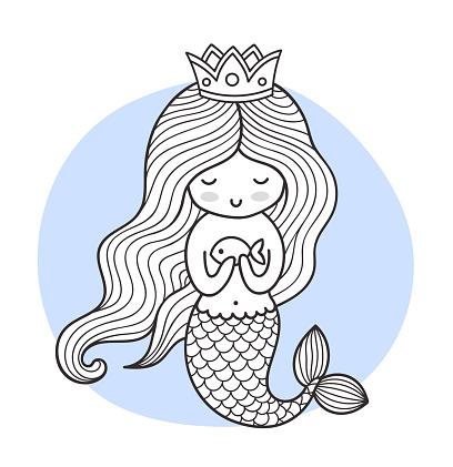 Cute cartoon princess mermaid with fish.