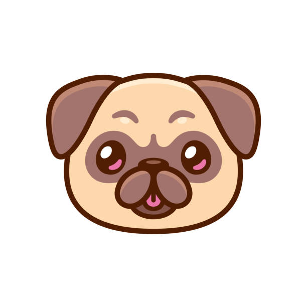 Cute cartoon pug face vector art illustration