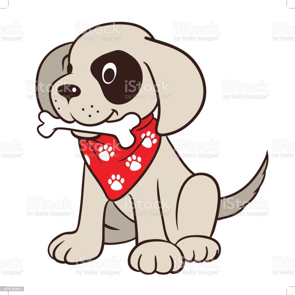 Cute cartoon puppy dog with bone vector art illustration