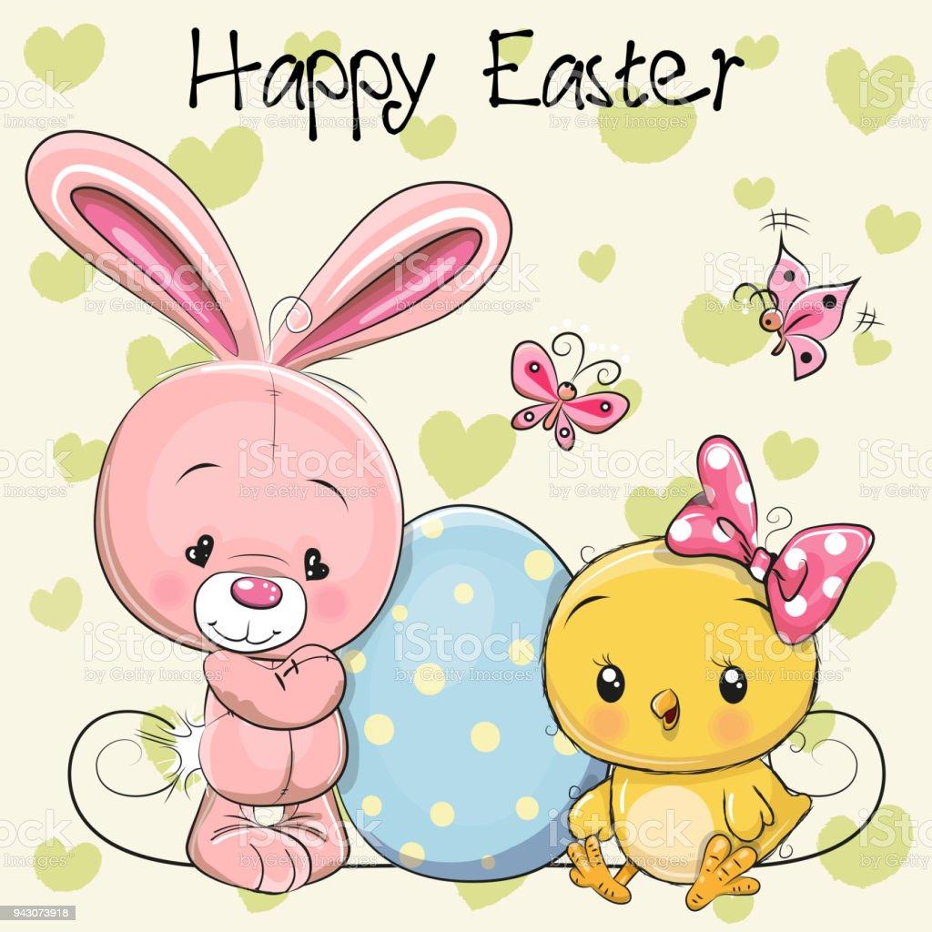 Niedlichen Cartoon Kaninchen und Huhn mit Ei – Vektorgrafik