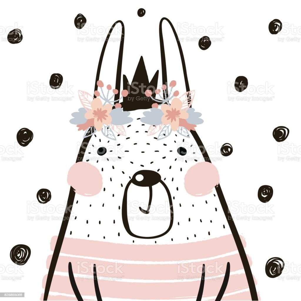 Chica de conejo de dibujos animados lindo con corona en estilo escandinavo. Impresión infantil para guardería, ropa de niños, cartel, postal. Ilustración de vector - ilustración de arte vectorial